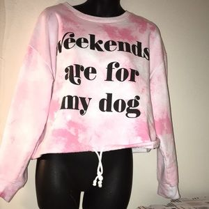 Xl cold crush pink tie dye crop  dog mom sweater